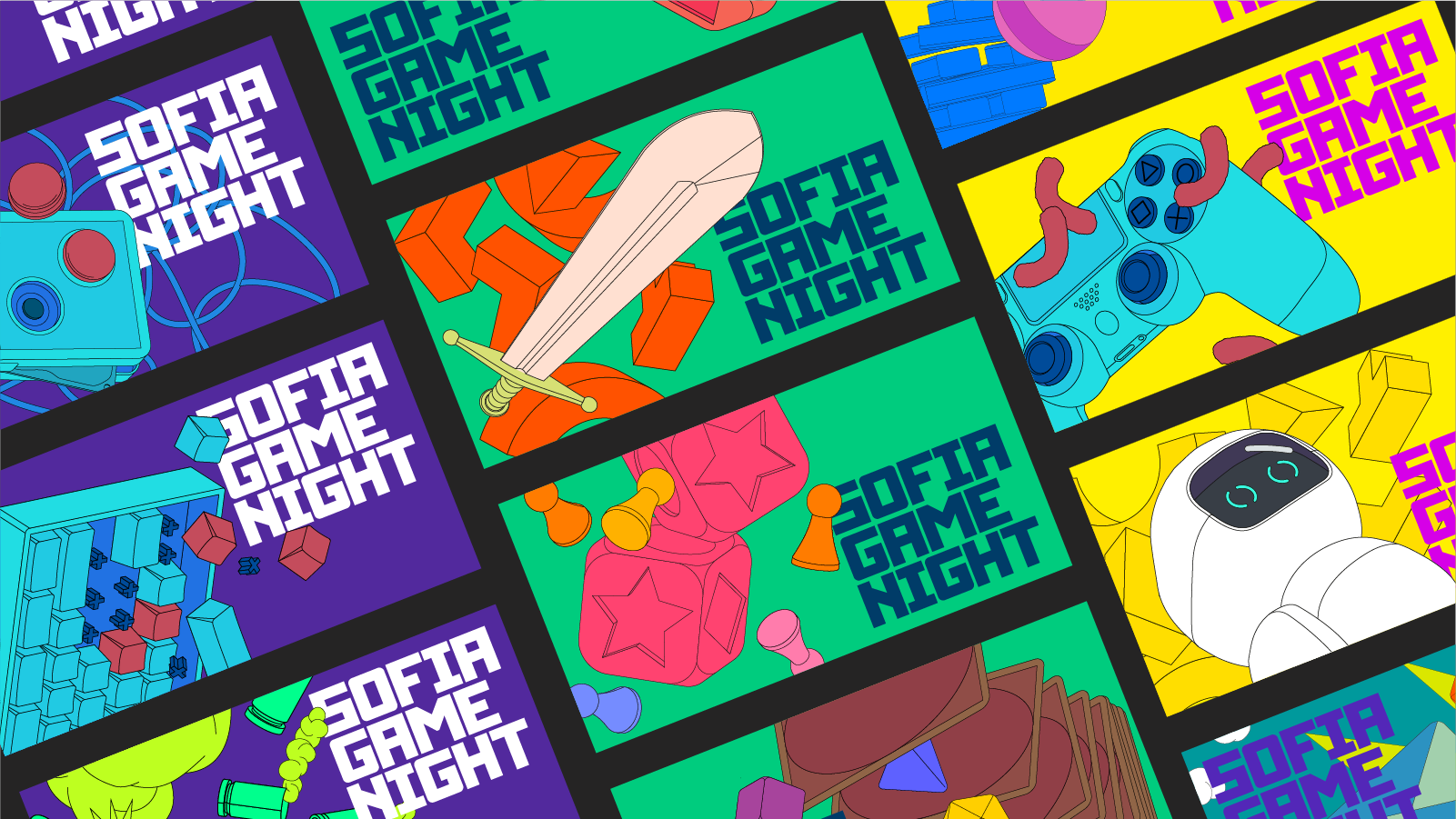studio PUNKT, Sofia Game Night, illustration, drawing, key visuals